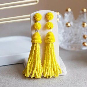 Buablebar Granita Beaded Tassel Earrings Yellow